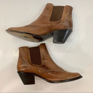 Durango 7.5 Leather Ankle Boots Pull On Brown